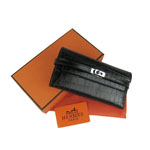 Hermes Kelly Crocodile Veins Long Clutch Bag H009 Black