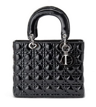 buy Cheap Christian Dior Black Patent Leather Mini Lady Dior Bag Silver