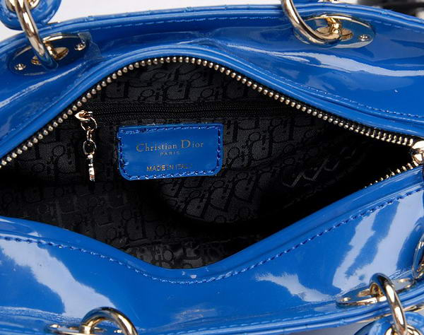 Hot Style Christian Dior Blue Patent Leather Mini Lady Dior Bag Gold