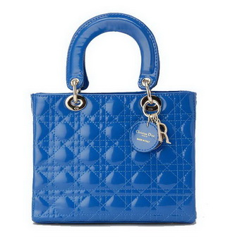Christian Dior Blue Patent Leather Mini Lady Dior Bag Silver
