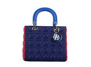 Christian Dior Blue&Red Sheepskin Leather Mini Lady Dior Bag Silver