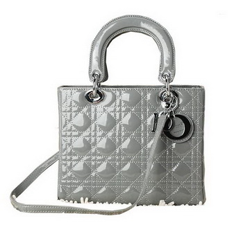 Hot Style Christian Dior Dark Grey Patent Leather Mini Lady Dior Bag Silver