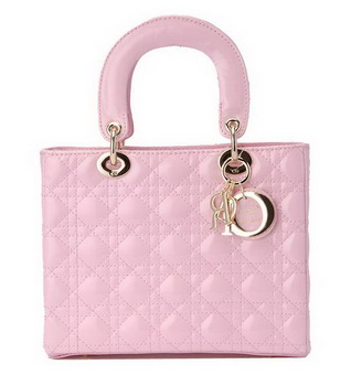 Hot Style Christian Dior Pink Patent Leather Mini Lady Dior Bag Gold