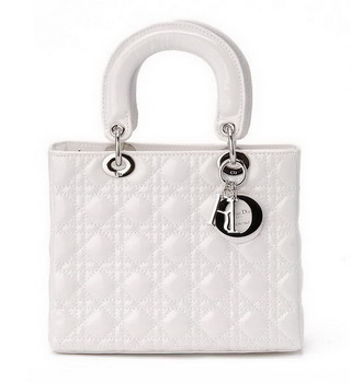 2012 Latest Christian Dior White Patent Leather Mini Lady Dior Bag Silver