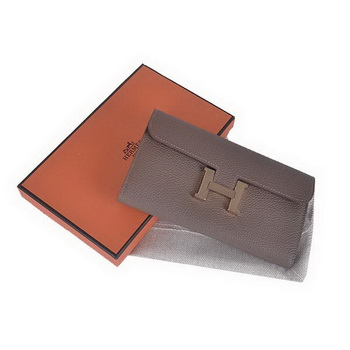 Hermes Constance Long Wallets Khaki Calfskin Leather Gold