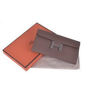 Hermes Constance Long Wallets Khaki Calfskin Leather Silver