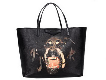 Givenchy Large Antigona Shopping Bag Printed POTTWEILER PVC Black