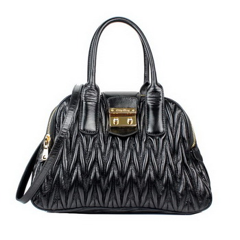 miu miu Bauletto Bag Matelasse Lamb Nappa Leather Top Handle RL0068 Black