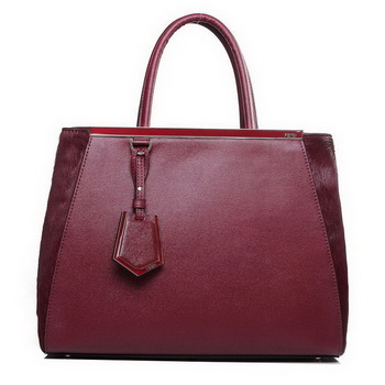 Fendi 2Jours Medium Tote Bag Horsehair 2552M Bordeaux