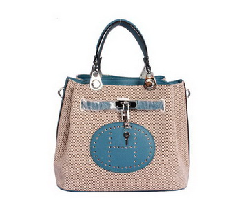 Hermes Mini So Kelly 30CM Bag Blue Canvas H8029 Silver