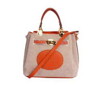 Hermes Mini So Kelly 30CM Bag Orange Canvas H8029 Gold