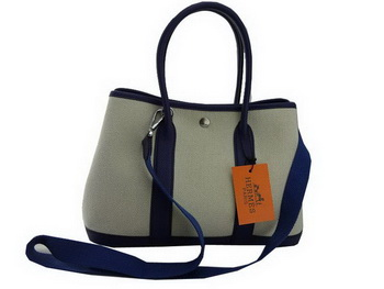 Hermes Garden Party 30CM Bag Fabric Dark Blue