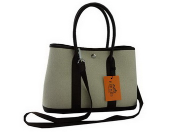 Hermes Garden Party 30CM Bag Fabric Dark Brown