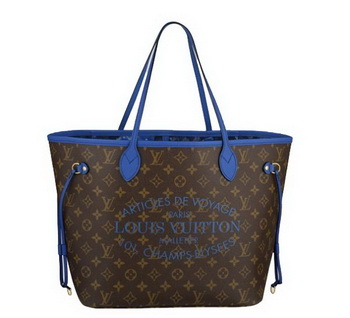 2013 Latest Louis Vuitton Monogram Canvas Neverfull MM M40938 Grand Bleu