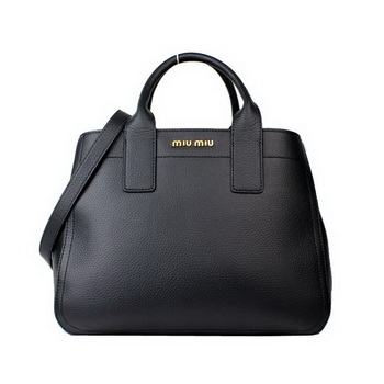 miu miu Calf Leather Tote Bag 88064 Black