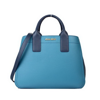 miu miu Calf Leather Tote Bag 88064 Light Blue