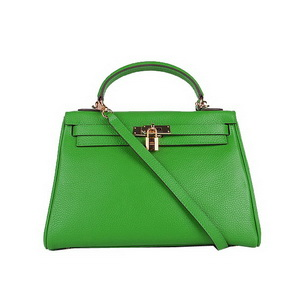 Hermes Kelly 32cm Shoulder Bags Green Clemence Leather Gold