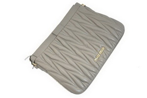 miu miu Matelasse Lambskin Leather Clutches 81154 Dark Gray