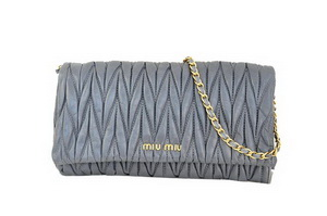 miu miu Matelasse Leather Clutches R0345 Dark Gray