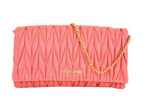 miu miu Matelasse Leather Clutches R0345 Light Red