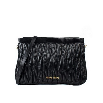 miu miu Matelasse Bright Leather Clutches 88080 Black