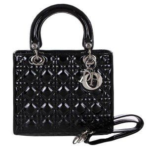 Lady Dior Bag mini Bag D9601 Black Patent Leather Silver