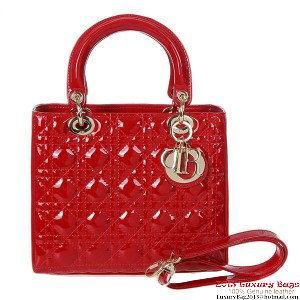 Lady Dior Bag mini Bag D9601 Red Patent Leather Gold