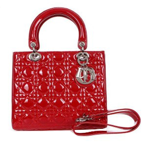 Lady Dior Bag mini Bag D9601 Red Patent Leather Silver