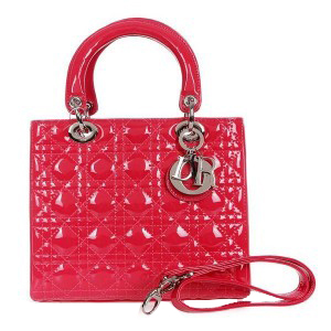 Lady Dior Bag mini Bag D9601 Rose Patent Leather Silver