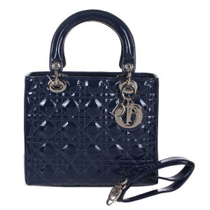 Lady Dior Bag mini Bag D9601 RoyalBlue Patent Leather Silver