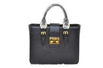 miu miu Pebble Finish Madras Goat Leather Tote Bag RN0799 Black
