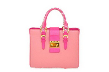 miu miu Pebble Finish Madras Goat Leather Tote Bag RN0799 Sakura