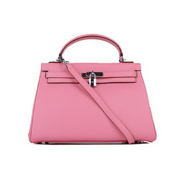 Hermes Kelly 32cm Shoulder Bags Pink Clemence Leather Silver