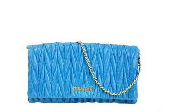 miu miu Matelasse Leather Clutches R0345 Light Blue