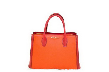 miu miu Two-Tone Suede Calf Leather Tote Bag BN0883 Orange&Red
