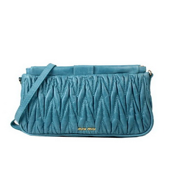 miu miu Matelasse Bright Leather Clutches 88081 Light Blue