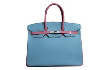 2013 Hot Sale Hermes Birkin 35CM Tote Bag Calf Leather Pink&Light Blue