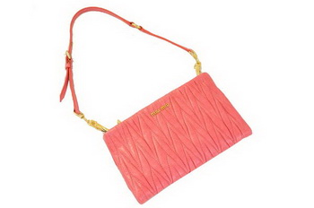 miu miu Matelasse Bright Leather Clutches M1710 Light Red