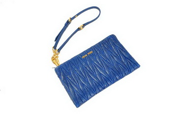 miu miu Matelasse Bright Leather Clutches M1710 RoyalBlue