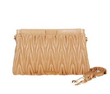 miu miu Matelasse Bright Leather Clutches 88101 Apricot