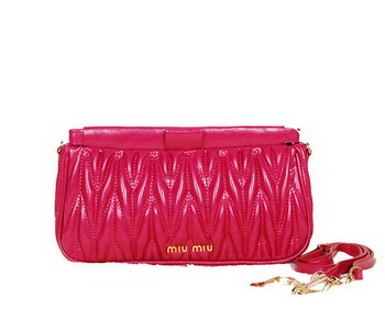 miu miu Matelasse Bright Leather Clutches 88102 Rose