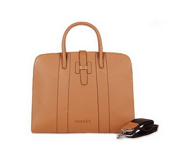 Hermes Mens Briefcase Calf Leather 9396-5 Camel