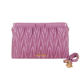 miu miu Matelasse Bright Leather Clutches 88101 Purple