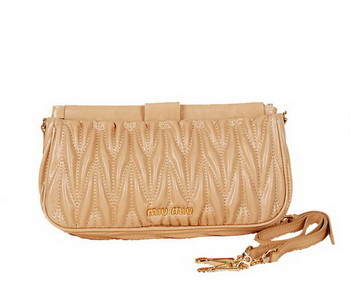 miu miu Matelasse Bright Leather Clutches 88102 Apricot