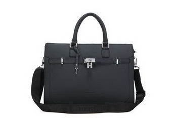 Hermes Mens Briefcase Calf Leather 52232-1 Black