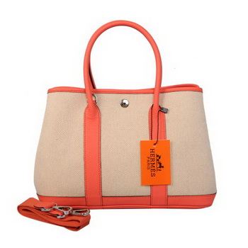 Hermes Garden Party 30CM Bag Canvas Leather A1288 Light Red