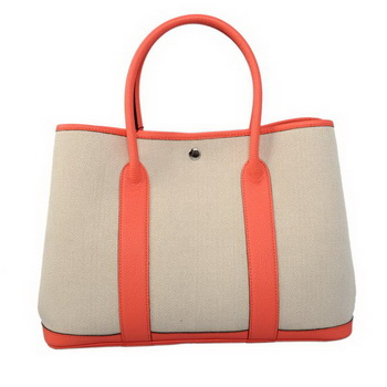 Hermes Garden Party 36CM Bag Canvas Leather A1288 Light Red