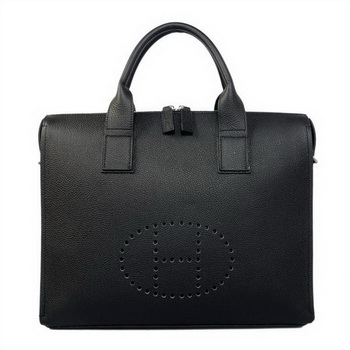 Hermes Mens Briefcase Calf Leather H1289A Black