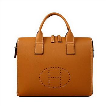 Hermes Mens Briefcase Calf Leather H1289A Camel