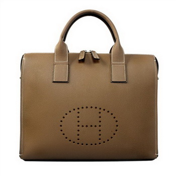 Hermes Mens Briefcase Calf Leather H1289A Khaki